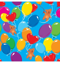 Seamless pattern with colorful balloons and teddy vector image vector image