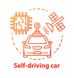 Self-driving car concept icon driverless robotic vector
