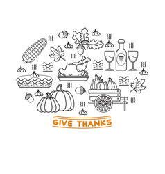 set of cartoon icons for thanksgiving day vector image
