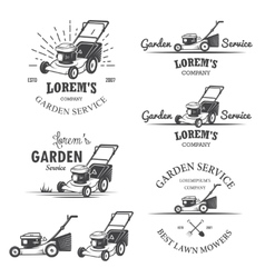 Set of vintage garden service emblems vector image