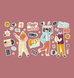 set stickers playlist for music collection vector image