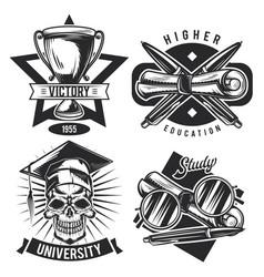 set vintage educational emblems vector image