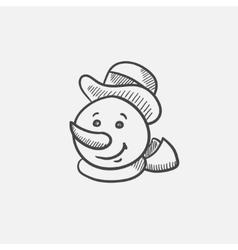 Snowman head sketch icon vector image