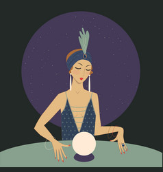 Spiritual girl with crystal ball is guessing vector