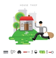 Theft Insurance Colourful flat vector image