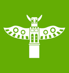 Traditional religious totem pole icon green vector