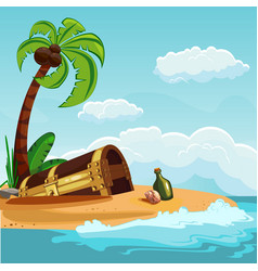 Treasure chest buried on the beach vector