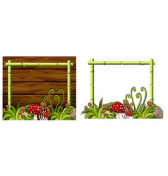 two bamboo frames with mushrooms vector image