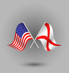 Two crossed american and flag of alabama vector