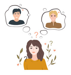 Undecided teenage girl doubting between two loves vector