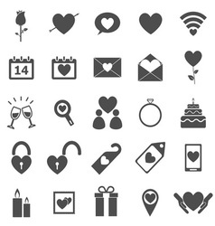 Valentines day icons on white background vector image