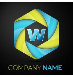 W letter colorful logo in the hexagonal on black vector