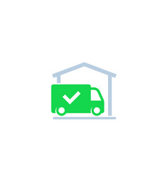 Warehouse and van delivery completed icon vector