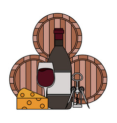 Wine bottle cup cheese corkscrew and barrels vector