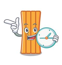 with clock air mattress character cartoon vector image
