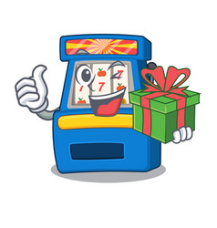 With gift slot machine next to cartoon chair vector