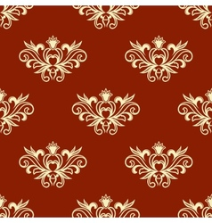 Yellow floral seamless pattern with red background vector image