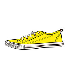 yellow sneakers icon flat of sneaker vector image