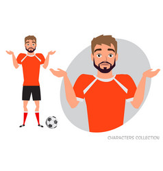 Young football player doubt no ideas emotion of vector