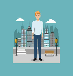 Young guy standing street brench and lamp post vector