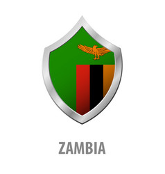 zambia flag on metal shiny shield vector image