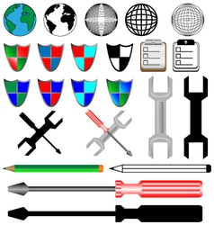 color and black icons vector image vector image