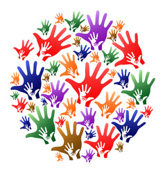 colorful caring hands circle background vector image vector image