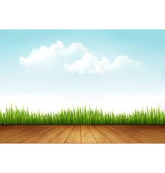 Nature background with a wooden deck vector image vector image
