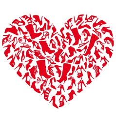 red shoe heart vector image vector image