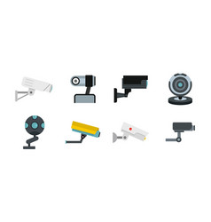 security camera icon set flat style vector image
