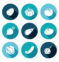 Vegetables set of nine Icons Set vector image vector image