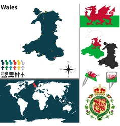Wales map world vector