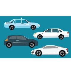 car icon set collection side taxi vector image vector image