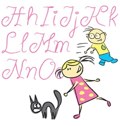 child calligraphy letters vector image