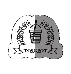 Monochrome sticker with olive crown with ribbon vector