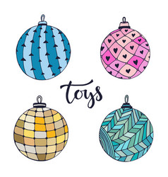 set of christmas balls decorative new year vector image