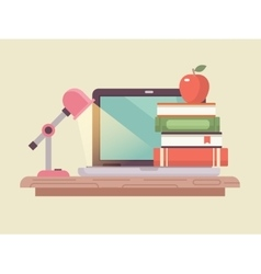 Workspace laptop and book stack flat style vector image vector image