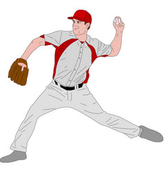 baseball pitcher detailed vector image vector image
