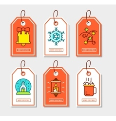 Christmas stickers set with flat icons vector image vector image