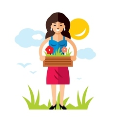 Gardening Woman with flowers Flat style vector image