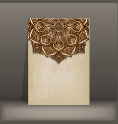 grunge paper card with brown floral circular vector image vector image
