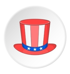 Top hat in the USA flag colors icon cartoon style vector image