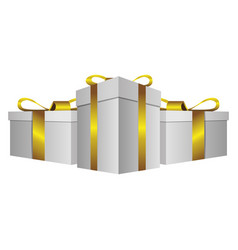 white gift boxes with gold ribbon icon vector image vector image