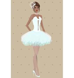 Beautiful girl in wedding dress vector image