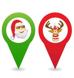 cartoon christmas map pin icons vector image vector image