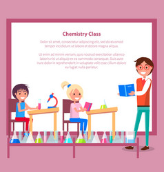chemistry class banner with teacher students vector image