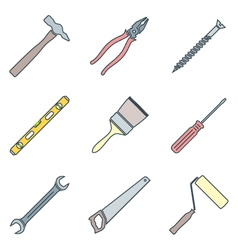 color outline house remodel tools icons vector image vector image