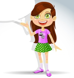 Cute little schoolgirl with speech bubble for text vector