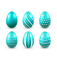 easter eggs turquoise set spring holidays in vector image