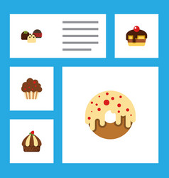 flat cake set of cake muffin doughnut and other vector image vector image